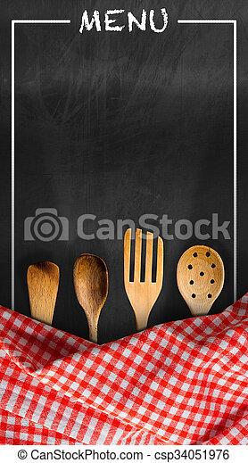 Menükarte, tafel, kueche , -, geräte. Checkered, hölzern,... Bild ...