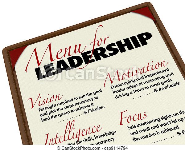 Menü für Führungsqualitäten wünschenswert in Manager Leader - csp9114794
