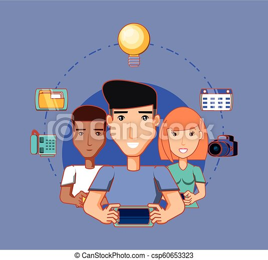 men and woman using mobiles social media network icons - csp60653323