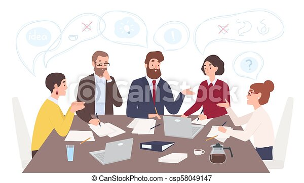 Men and women dressed in business clothes sitting at table and discussing ideas, exchanging information, solving problems. Brainstorm or group discussion. Cartoon vector illustration in flat style. - csp58049147