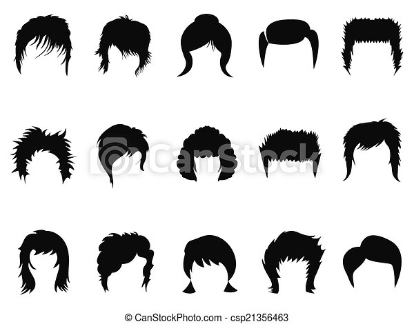 Isolated men and women hair styling collection on white ... Men Hair Clipart