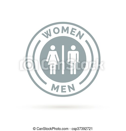 Men And Women Toilet Icon. Male And Female Restroom Sign. Man And Woman  Bathroom Symbol. White Male And Female Icon On Cool Grey Circle Background.  Vector ...
