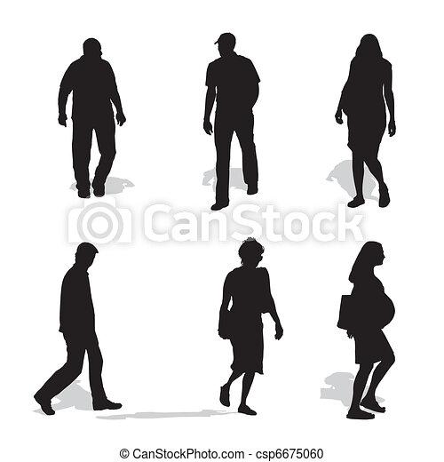men and women walking, vector silhouettes - csp6675060