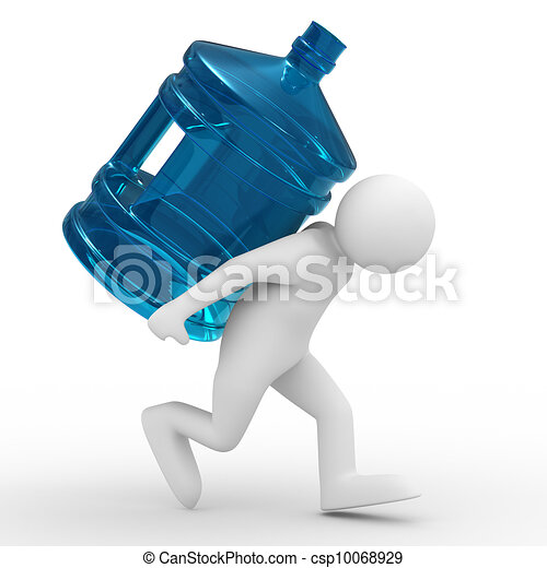 men carry bottle on back. Isolated 3D image - csp10068929
