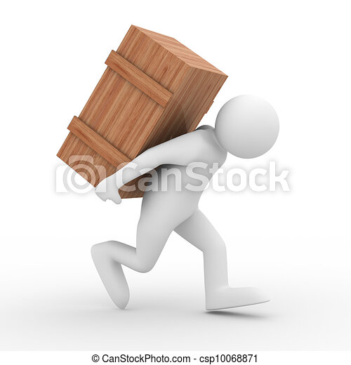 men carry box on back. Isolated 3D image - csp10068871