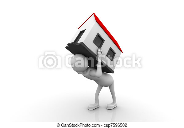 men carry house on back - csp7596502