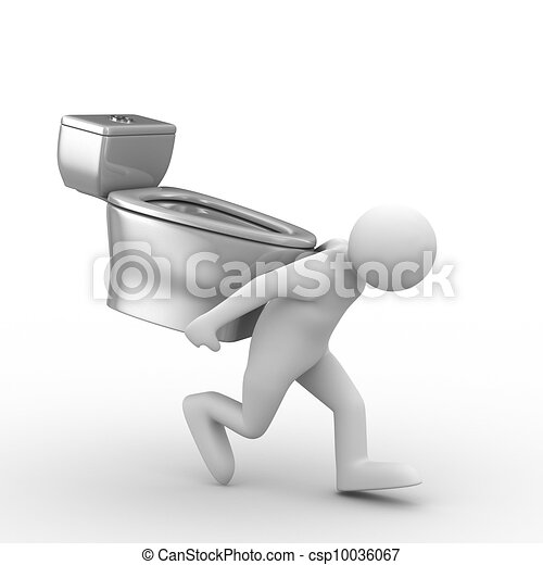 men carry toilet bowl on back. Isolated 3D image - csp10036067