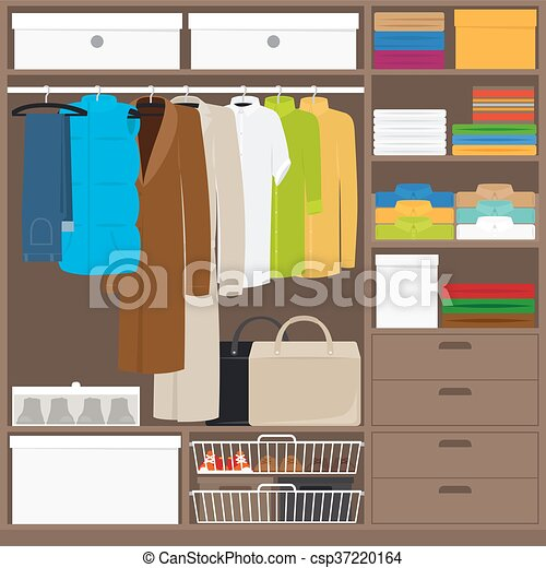 Men Cloths Wardrobe Wuth Different Types Of Clothes Vector