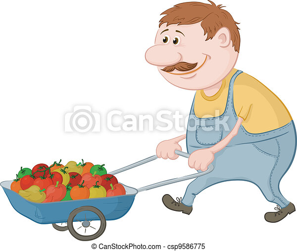Men driven truck with vegetables - csp9586775