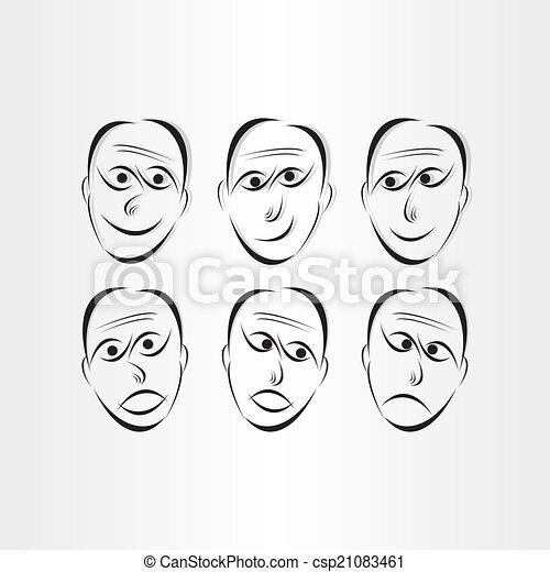 Men Faces Emotions Symbols Abstract Design Elements Clip Art Vector