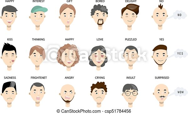 men faces set. different faces with emotions. clipart vector