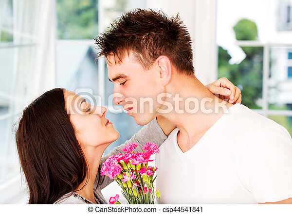 Valentines Day Anniversary Men Giving Flowers To His Lover Woman