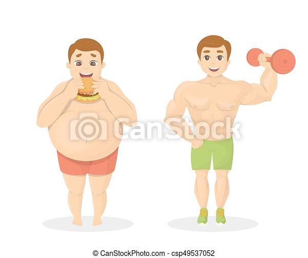 Hombres Gordos Y En Forma Hombre Obeso Con Comida Chatarra