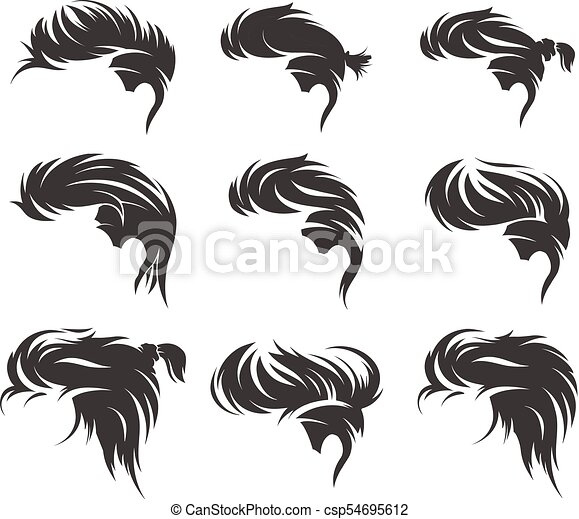 men hairstyles and haircuts isolated
