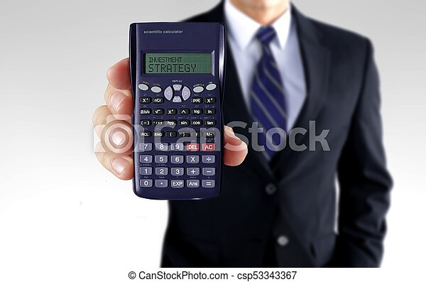 Men holding calculator showing investment strategy - csp53343367