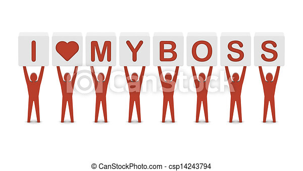 Men holding the phrase i love my boss. Concept 3D illustration. - csp14243794