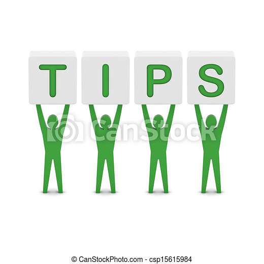 Men holding the word tips. - csp15615984