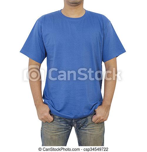 Men in blue T-shirt  - csp34549722