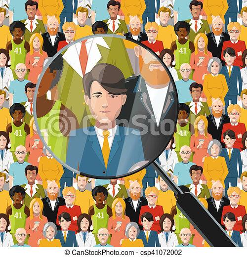 Men in crowd under magnifying glass, flat illustration - csp41072002