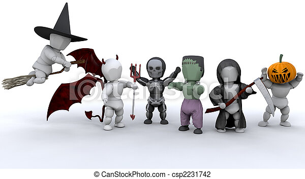 men in halloween party outfits - csp2231742