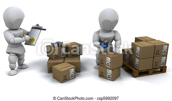 men packing boxes for shipment - csp5992097