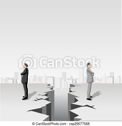 men separated by cracked floor - csp29077568