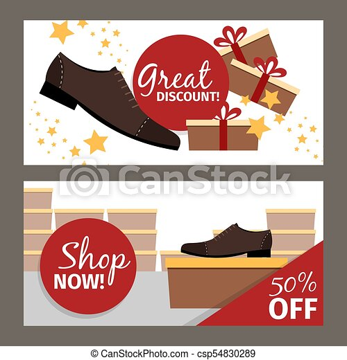 Men shoes horizontal flyers for advertising - csp54830289