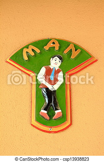 Men sign on wall - csp13938823