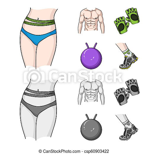 Men torso, gymnastic gloves, jumping ball, sneakers. Fitnes set collection icons in cartoon,monochrome style bitmap symbol stock illustration web. - csp60903422