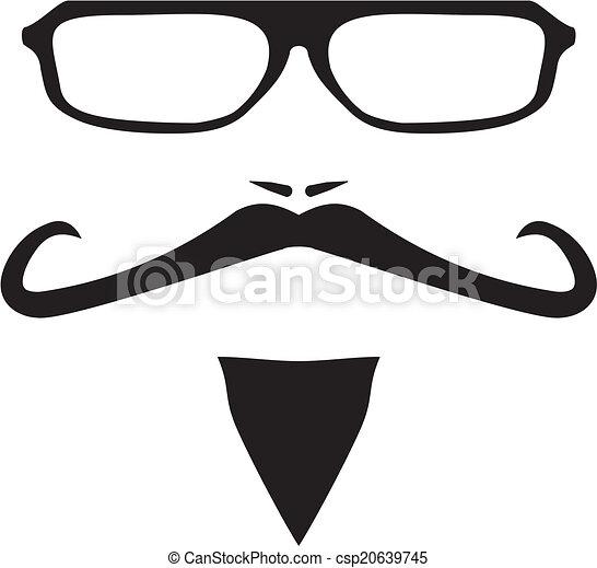 Men vector face with long mustache - csp20639745