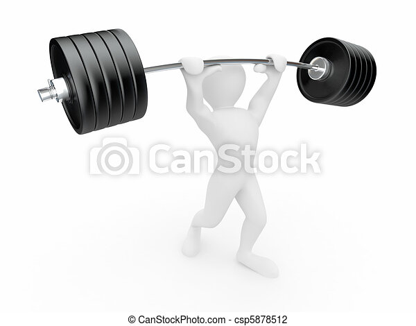 Men with barbell 3d men with barbell on white isolated for Barbel art