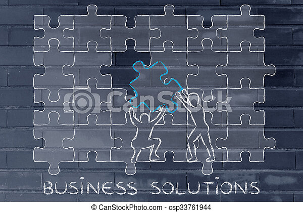Men With Missing Piece To Complete A Puzzle Text Business Solutions