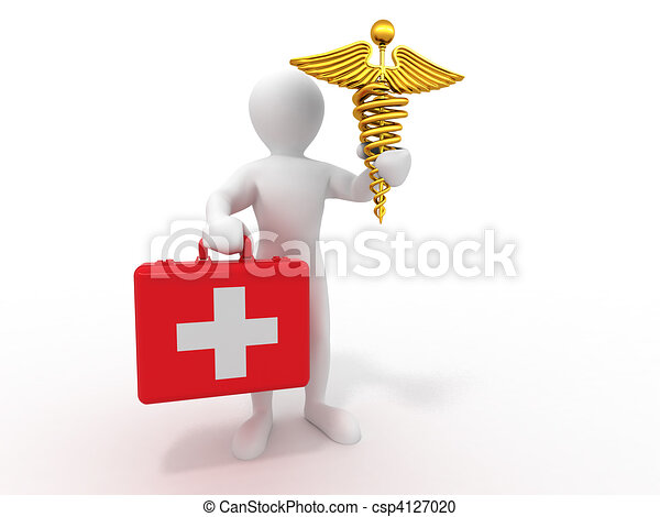 men with symbols of medicine. 3d - csp4127020