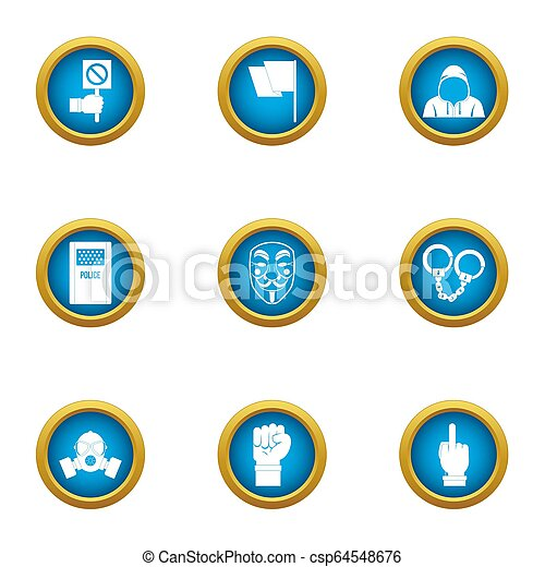 Menace icons set, flat style - csp64548676