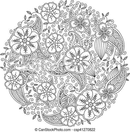 Fiori Mandala.Mendie Mandala With Flowers And Leaves Zenart Inspired Style Can