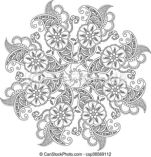 Mendie Mandala With Flowers And Leaves For Coloring Book
