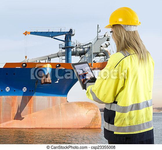 menedzser, dredging, megvizsgáló, edény, minőség biztosíték - csp23355008