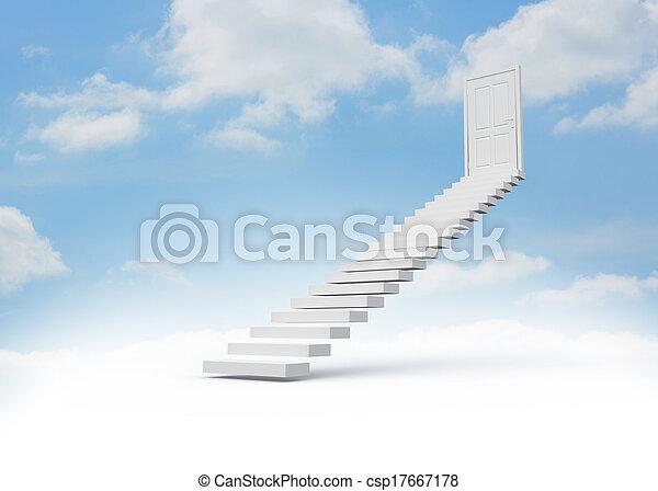 mener, porte, étapes, ciel, fermé - csp17667178