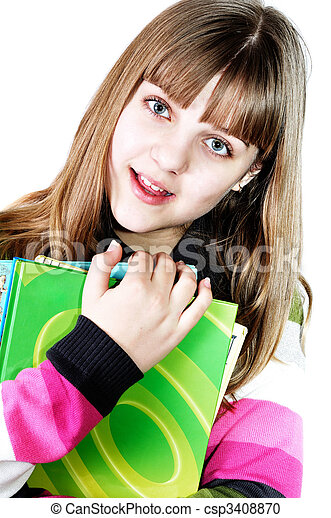 menina adolescente, livros - csp3408870