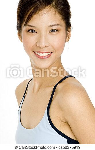 menina, asiático, bonito - csp0375919