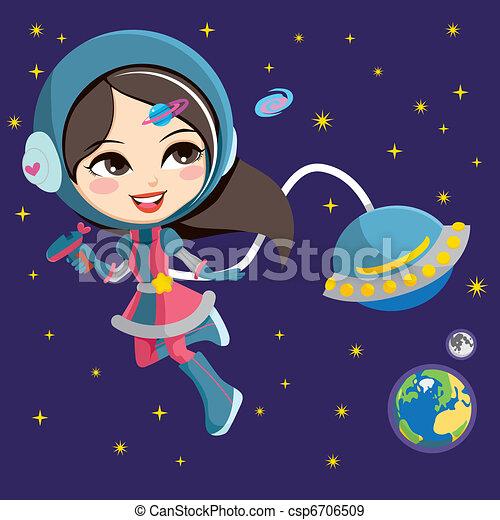 menina, astronauta, bonito - csp6706509