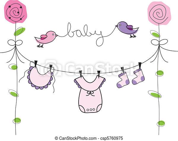 menina bebê, linha, roupas - csp5760975