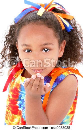 menina, beijo, criança - csp0083038