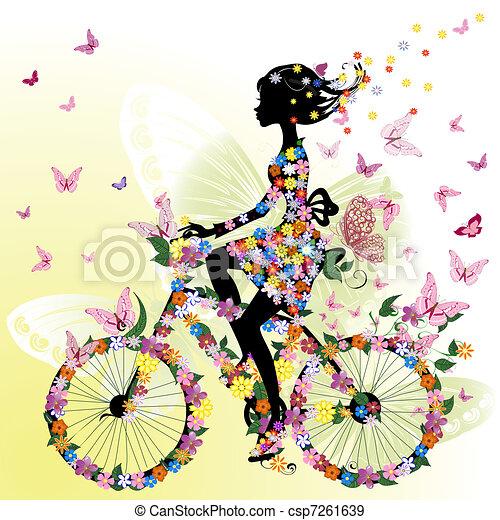 menina, bicicleta, romanticos - csp7261639