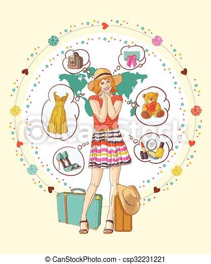 menina bonita, pensando, comprando, aproximadamente - csp32231221
