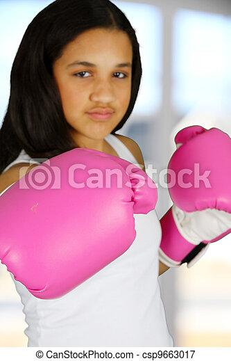 menina, boxe - csp9663017
