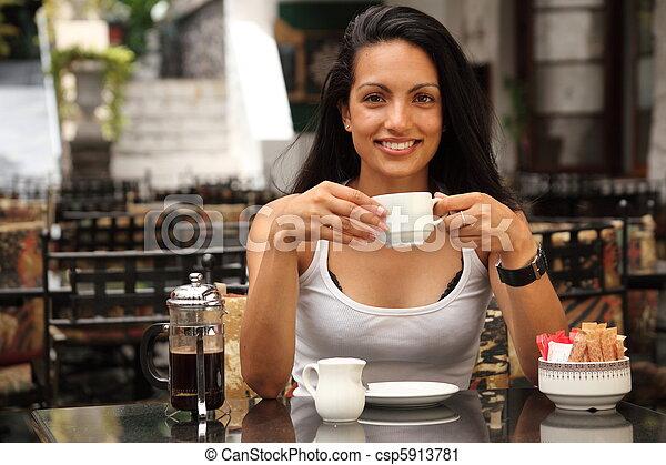menina, café, café bebendo - csp5913781