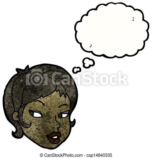 menina, caricatura, bonito - csp14840335
