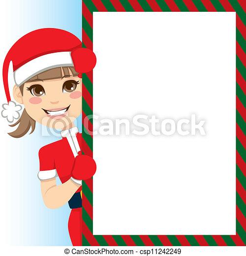 menina, claus, santa - csp11242249
