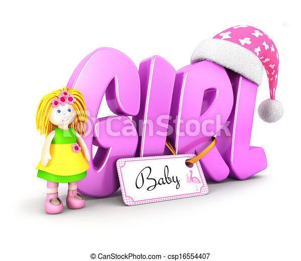 menina, conceito, palavra, 3d - csp16554407
